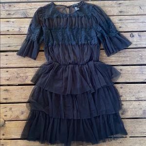 Tulle lace little black dress